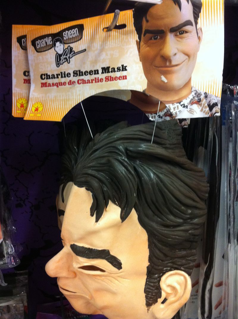 Frightening masks- charlie sheen